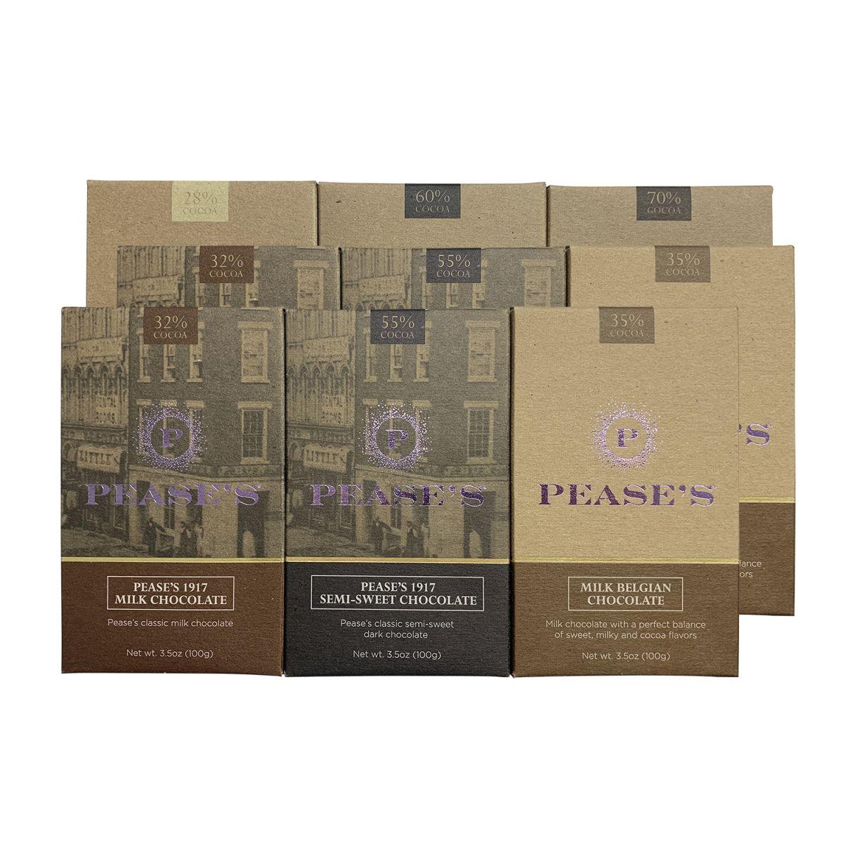 Pease's Milk/Dark/Belgian Chocolate Bars - Variety 9PK