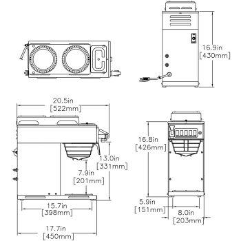 CWTF15-3, Plastic Funnel (2 Upper/1 Lower Warmer)