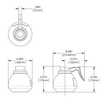 64oz Black Handle Glass Decanter (Single Pack)
