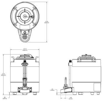 1Gal(3.8L) TF Server -no Base- Mechanical Sight Gauge, Black