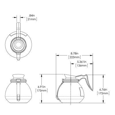 64oz Blk Hndl Glass Decanter RFID (Case of 3)