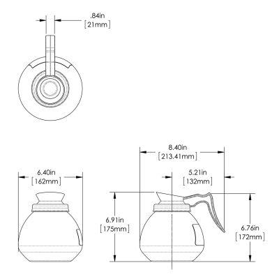 64oz Orange Handle Glass Decanter (Case of 3)