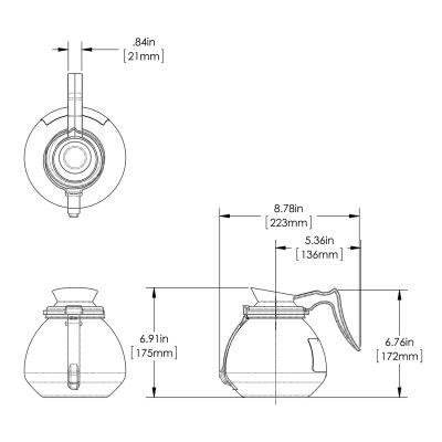 64oz Orng Hndl Glass Decanter RFID (3pk)