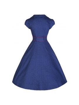 c33634fc684f Geneva Contrasting Polka Dot Tailored 50s Rockabilly Dress