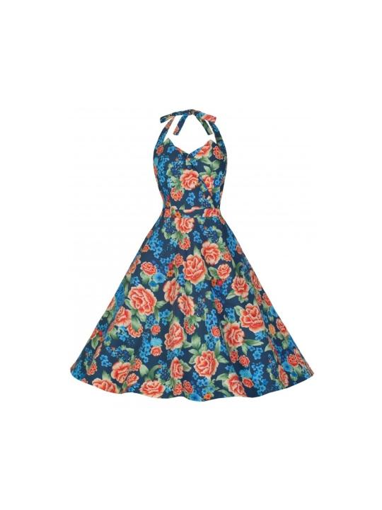 6a177ad9a4e9 Myrtle Halter Neck Miami Beach Floral Swing Dress Blue Floral
