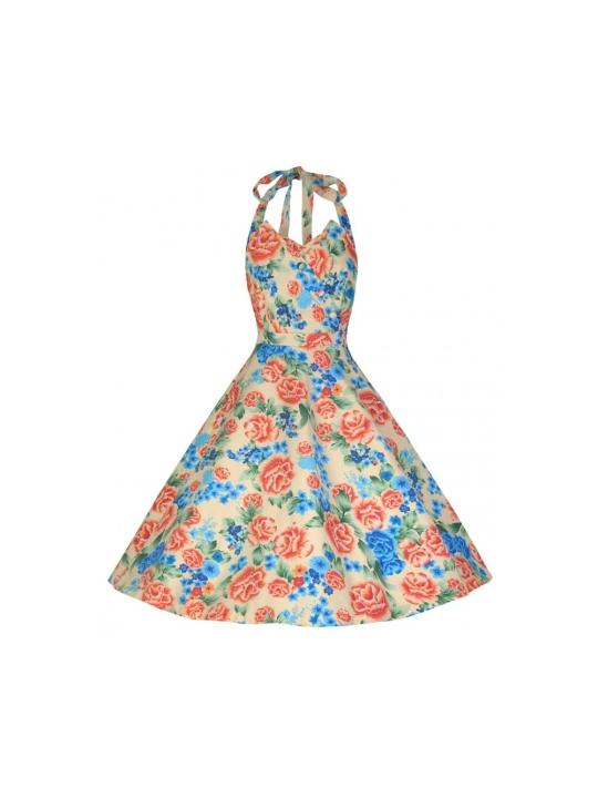 a941bf54dfe1 Myrtle Halter Neck Miami Beach Floral Swing Dress Cream Floral