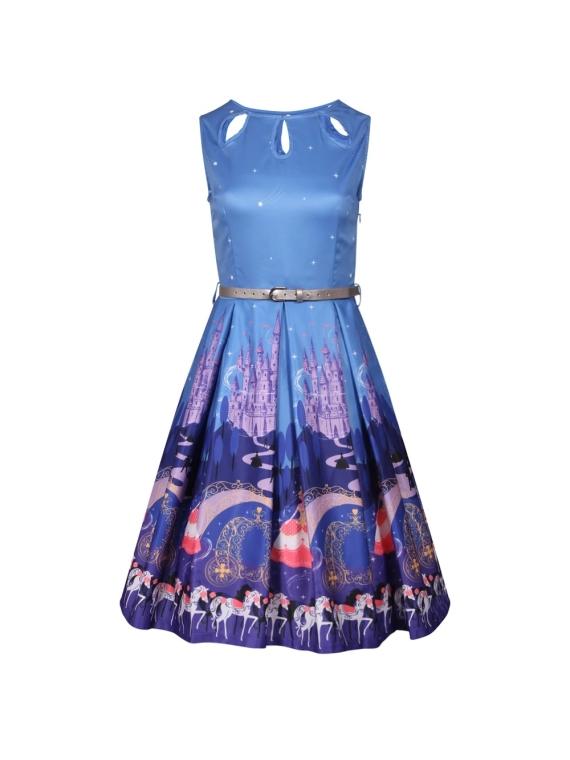bf29b8b59cdc Lindy Bop Lily Fairytale Princess Print Swing Dress