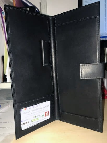 Personalised leather scorecard holder