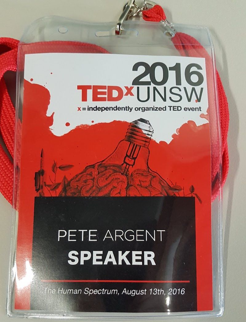 A photo of Pete Argent's TedX UNSW Speaker lanyard