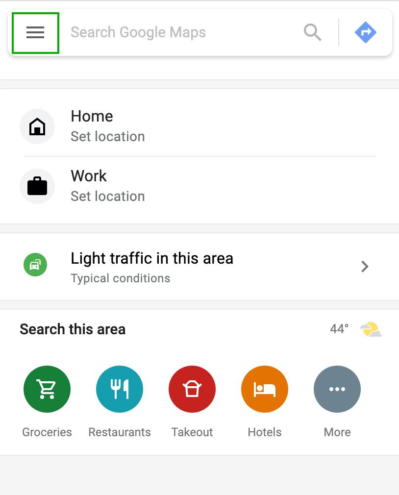 Google Maps Left Sidebar