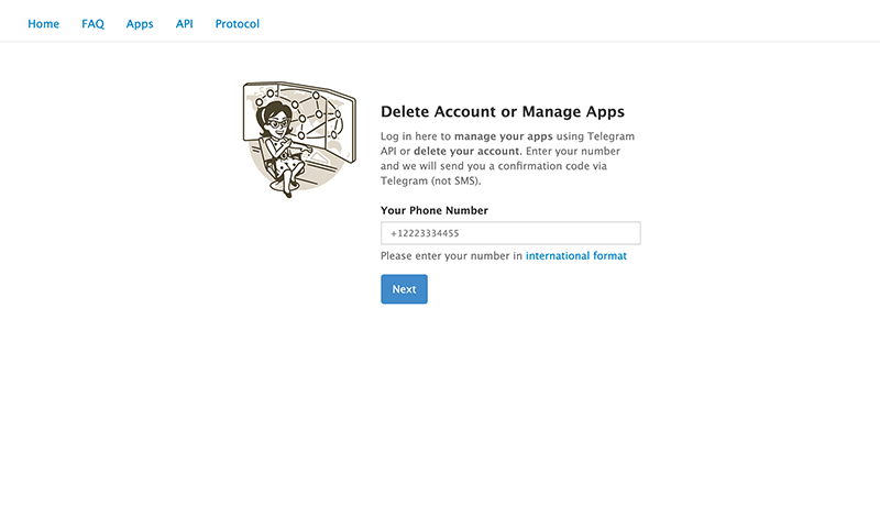 Telegram Account Delete Page