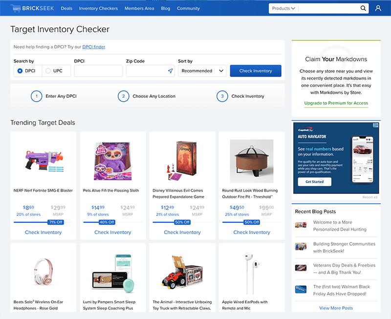 Brickseek Target Inventory Page