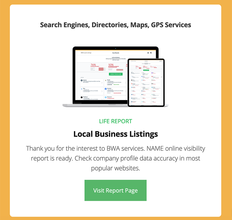 Local Business Listings Email