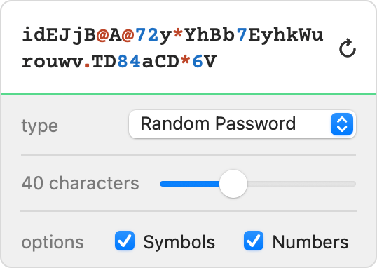 Generate long, random passwords containing symbols and numbers