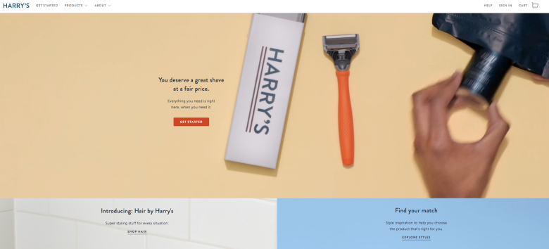 Harry's homepage's video banner animates men using their razors and skincare