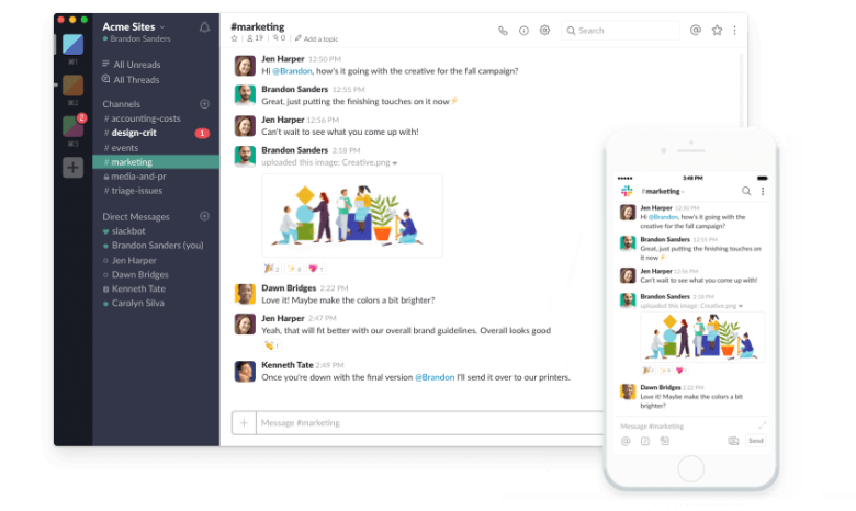 A screenshot of the Slack app. Email is so five years ago...