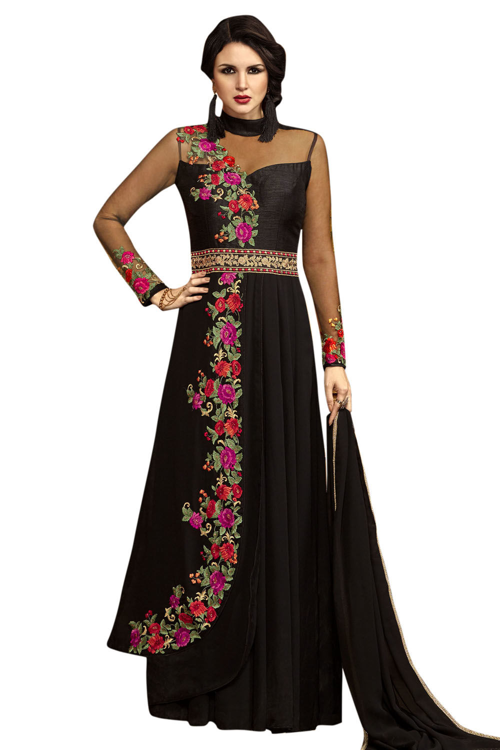 c6c80703797d04 Stylee Lifestyle Black Georgette Embroidered Semi Stitched Gown - Dress  Material