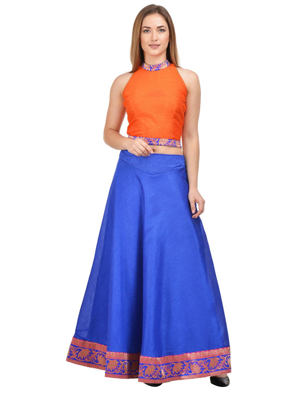 560dcfe0ca Castle Royal Blue Raw Silk Lehenga with Orange Choli - Lehenga Choli