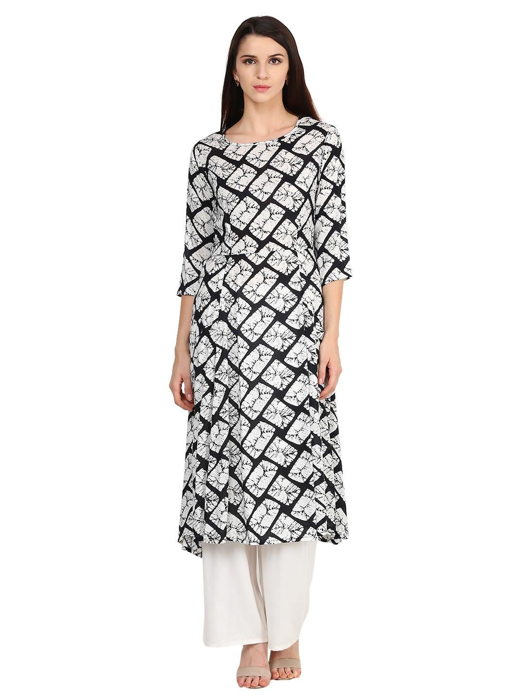 9895c7389 Castle White   Black Printed Rayon Kurta with Palazzo - Kurta Sets