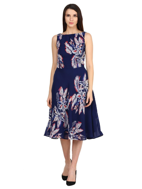 673f2c0ff Castle Navy Blue Printed Georgette Dress - Dresses