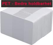 Plastkort - Hvite 0,76mm PET 100/pk