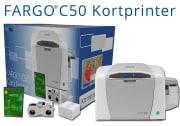 Kortprinter - Fargo C50 med cardpresso, fargebånd og 100 kort