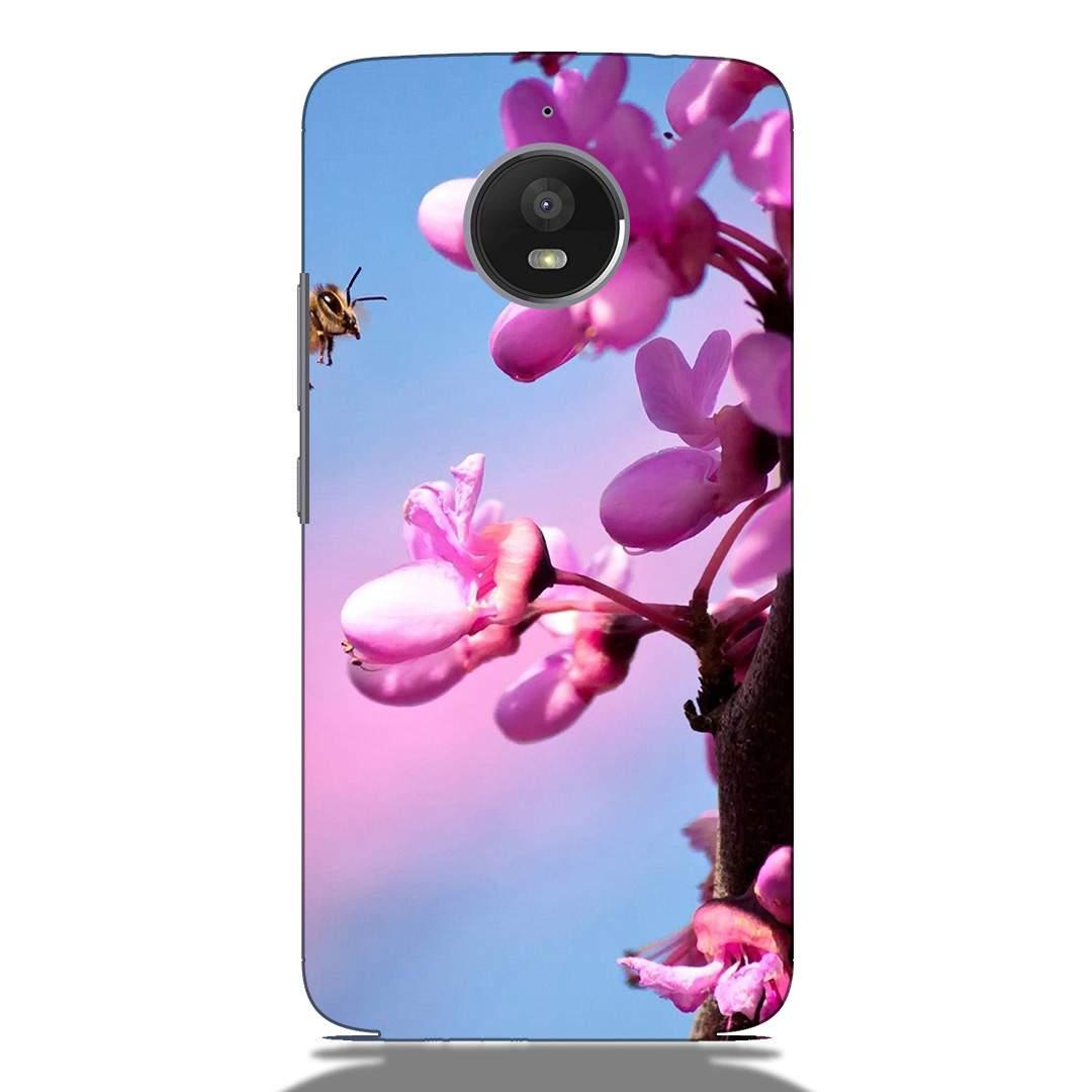 Pink Flower Motorola E4 Plus Back Cover