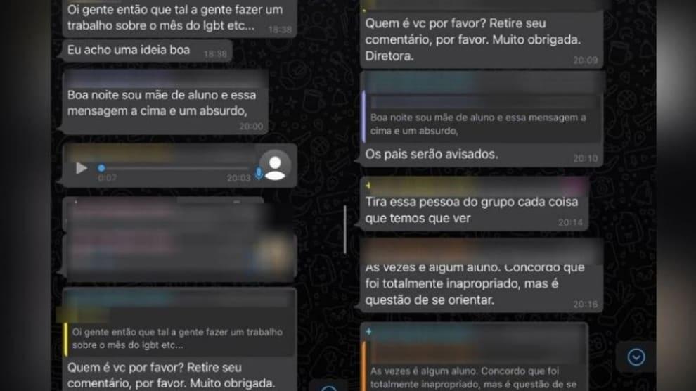 Prints do Whatsapp que mostram conversa com teor LGBTfóbico