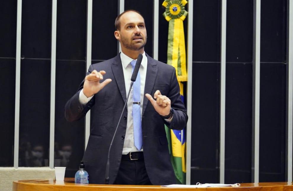 Eduardo Bolsonaro na Câmara, em 12/05/2021