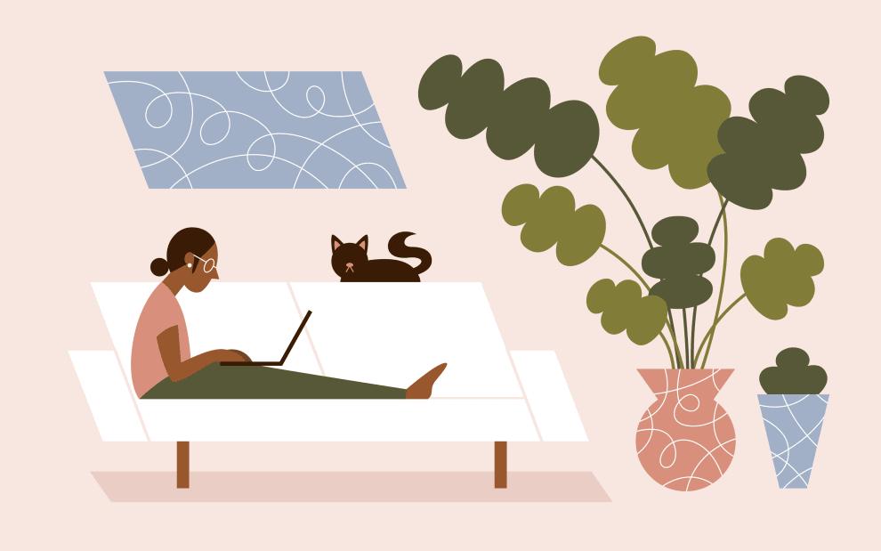 Ilustração de uma mulher escrevendo em um notebook. Ela está em um sofá acompanhada de um gatinho.