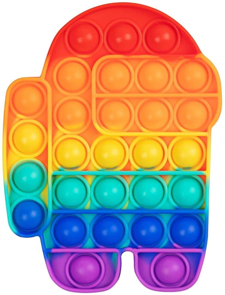Brinquedo feito em silicone na cor arco-íris - roxo, azul, verde água, amarelo e laranja - com bolas para apertar distribuídas por todo o objeto.