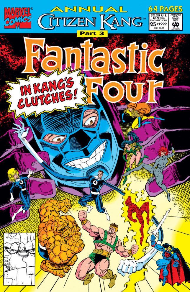 Capa de Quadrinho de 1992 que mostra Kang contra o quarteto fantástico