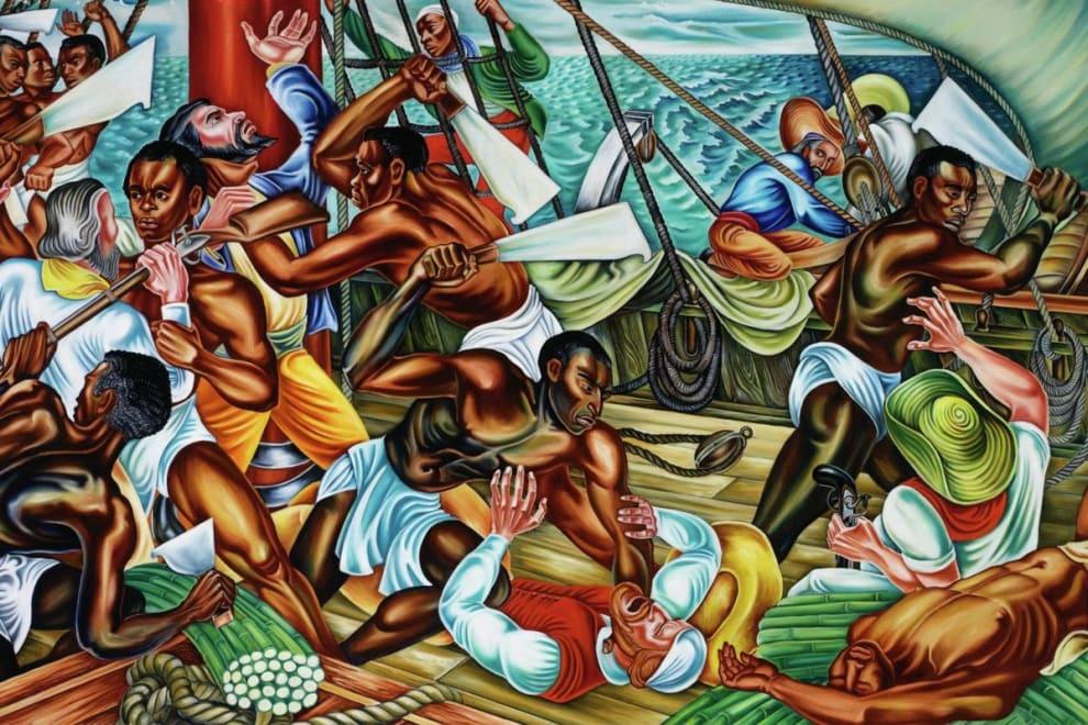 Pintura que retrata homens batalhando dentro de um navio. Alguns estão armados com foices e facões e enfrentam outros, desarmados.