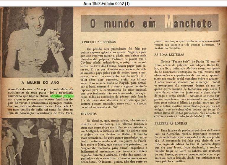 """Recorte do jornal """"Manchete"""", de 1953. O título da matéria é """"A Mulher do Ano"""", e tem foto de Chrstine Jorgensen"""
