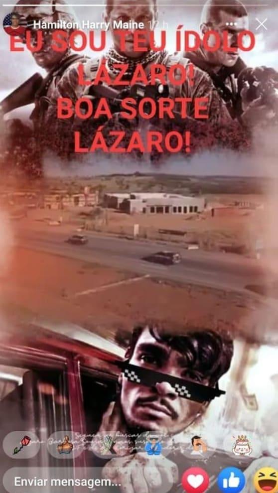 """Montagem no computador com soldados americanos e o texto """"EU SOU TEU ÍDOLO LAZARO, BOA SORTE LAZARO"""" e uma foto de Lázaro com óculos escuros."""