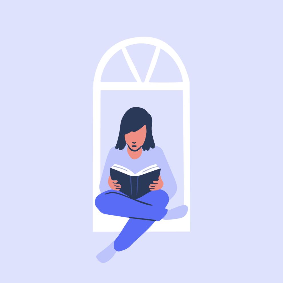 Menina sentada em uma janela lendo um livro.