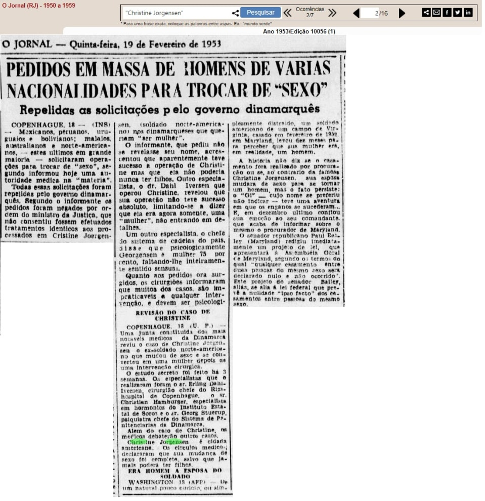 """Recorte antigo de O Jornal-RJ, 1953. Nele lê-se o título """"Pedidos em massa de homens de várias nacionalidades para trocar de sexo"""""""