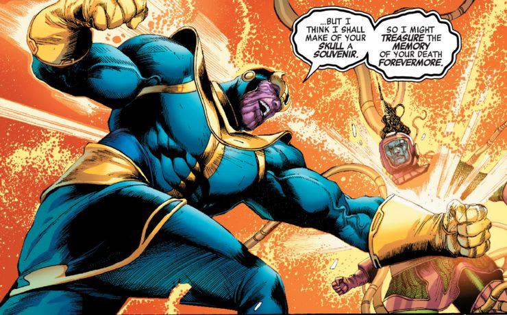 Thanos e Kang lutando nos quadrinhos
