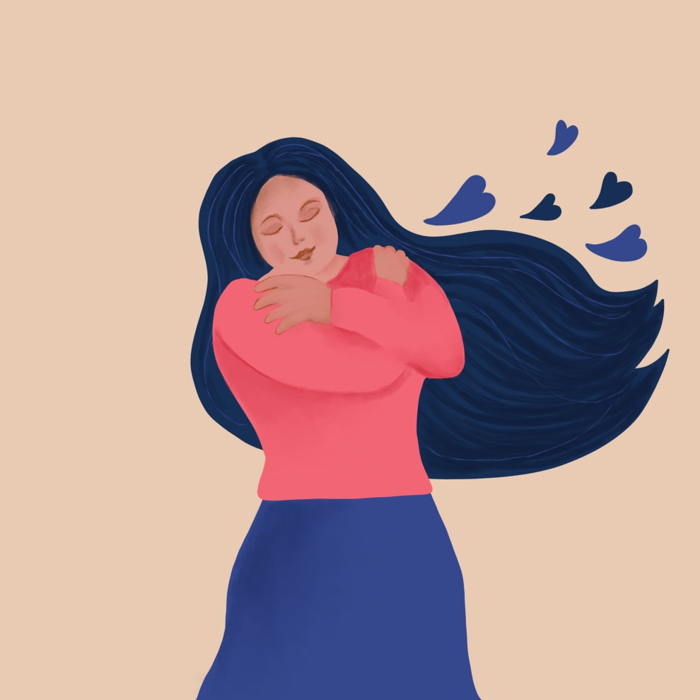 Imagem de uma mulher abraçando a si mesma.