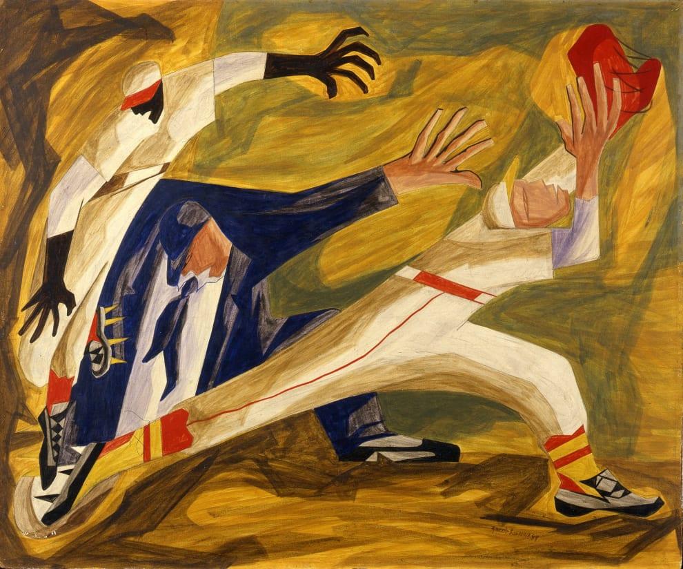 Pintura que retrata o que se assemelha a um homem usando uniforme de policial tentando pegar um outro homem, que, por sua vez, corre