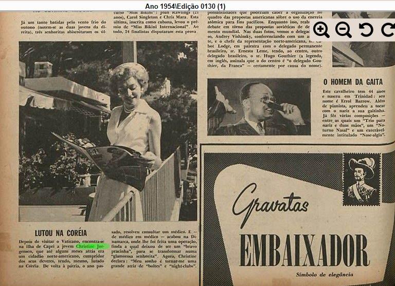 Recorte antigodo jornal Manchete, de 1954. Nele, há uma matéria sobre Christine Jorgensen, mencionando o fato de ela ter lutado na Coréia antes de sua cirurgia
