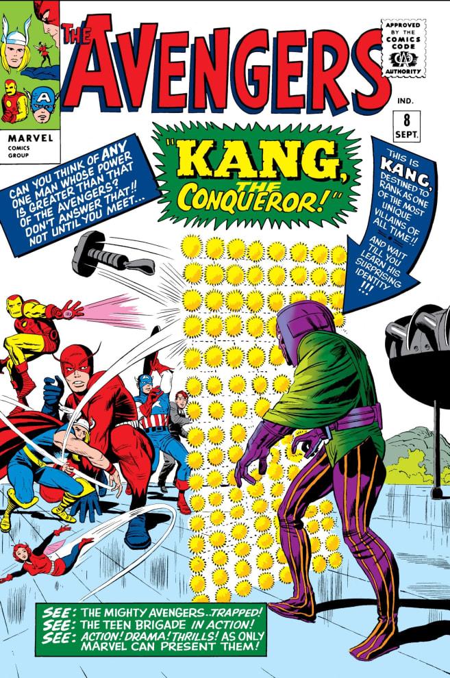 Capa do Quadrinho Avengers #8, de 1964, que mostra Kang