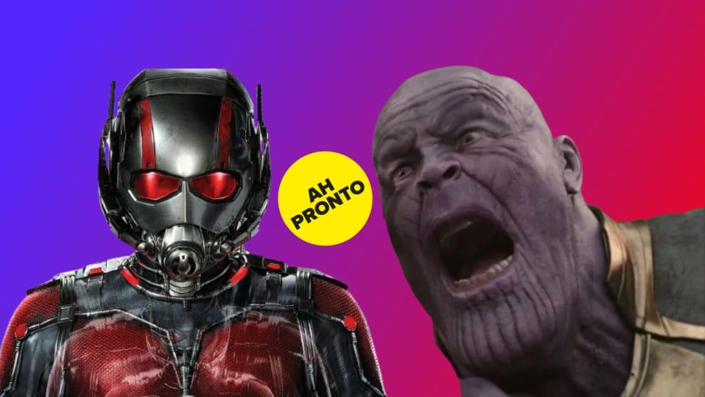 """Homem Formiga, Thanos e um selo do Buzzfeed com o escrito """"AH PRONTO""""."""