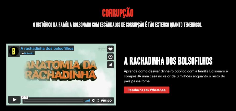 """Print da aba """"corrupção"""" no Bolsoflix."""