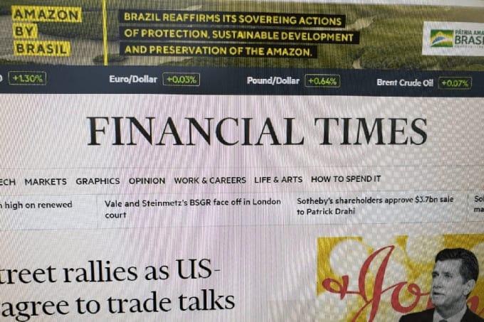 Print da propaganda do governo, no Financial Times
