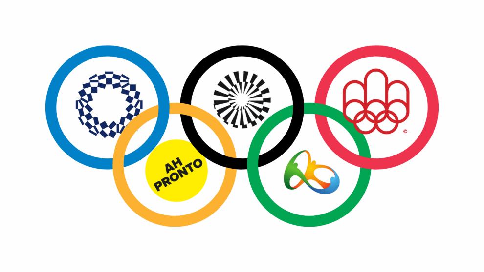Arcos olímpicos com logos dentro