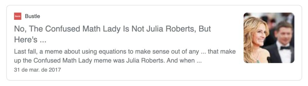 Manchete de jornal internacional explicando que não é a Julia Roberts no meme.