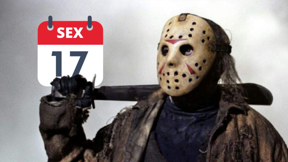 Jason com um calendário de marcando 17 numa sexta-feita