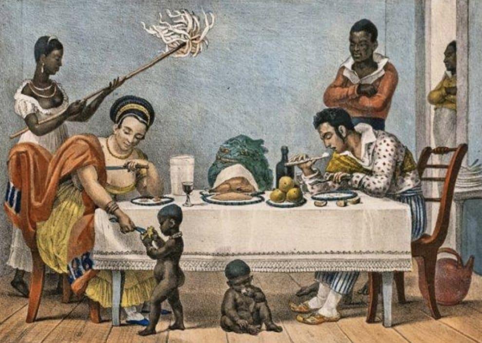 Imagem mostra uma pintura que retrata um casal de pessoas brancas sendo servidas à mesa por pessoas negras, incluindo crianças.