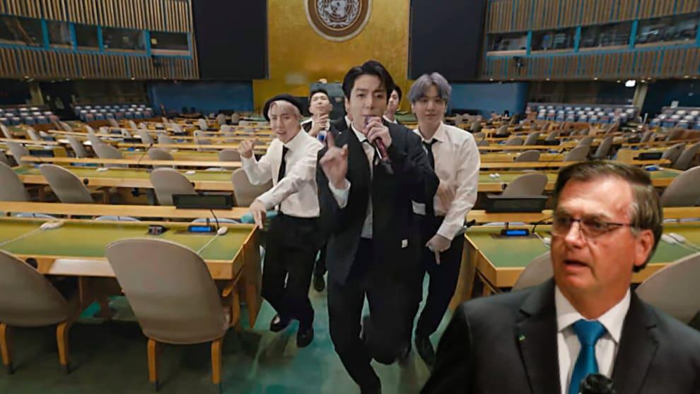 BTS dançando na ONU e bolsonaro olhando para eles boquiaberto
